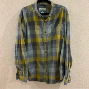 Columbia Button Up - Blue/Yellow Size Large